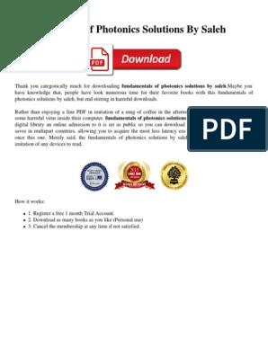 Fundamentals Of Photonics Solutions By Saleh