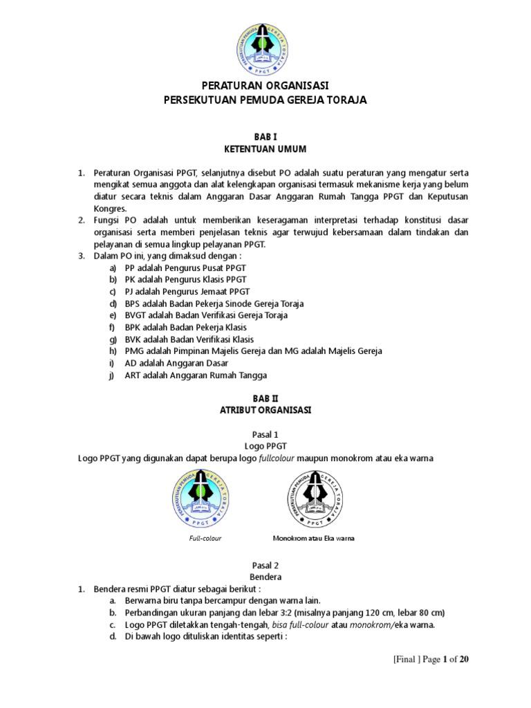 Peraturan Organisasi Ppgt 2019