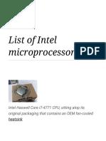 List of Intel Microprocessors