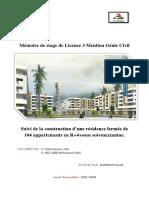 Mémoire de stage de Licence 3 Mention Génie Civil