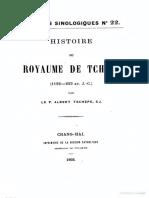 Varietes Sinologiques 22 Histoire de Tch'Ou