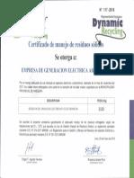 certificado de residuos solidos