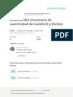 Análisis  inventario de asertividad de Gambrill y Richey