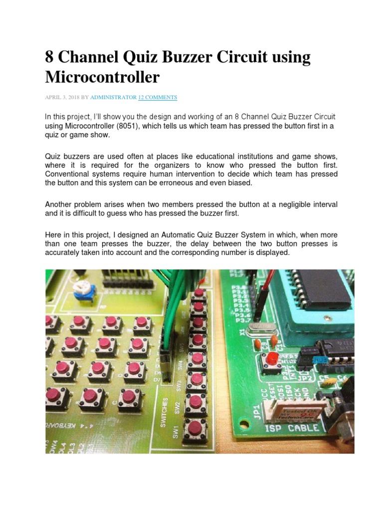 8 Channel Quiz Buzzer Circuit Using Microcontroller Docx