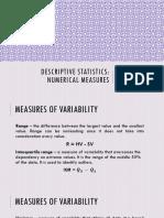 Chapter 3 - Descriptive Statistics Numerical Measures Pt. 2