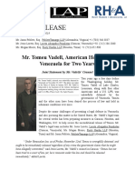 2019-11-27 Vadell Counsel Two Year Statement; American Hostage in Venezuela