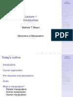 Lecture 1 - Mechanics of Manipulation