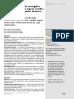 Análisis de la producción investigativa, redes de colaboración e impacto científico del Centro de Investigaciones Pesqueras, Cuba (2000-2015)
