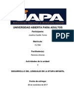Tarea 5, Desarrollo Del Lenguaje en La Etapa Infantil, Josefina Catillo Torres