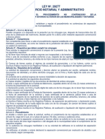 LEY Nº 29227 - Separación Convencional y Divorcio Ulterior en Las Municipalidades y Notarías