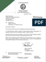 State Sen. Martin Sandoval Resignation Letter
