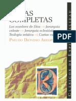 Dionsio Areopagita. Obras Completas.