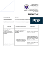 Budget of Work Science8thirdquarter
