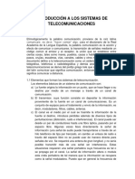 Introduccion al Sistema de Telecomunicaciones