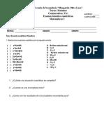 Examen Tematico de Cuadraticas