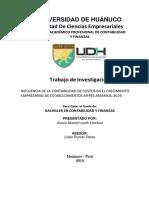 INFLUENCIA DE LA CONTABILIDAD DE COSTOS EN EL CRECIMIENTO EMPRESARIAL DE ESTABLECIMIENTOS MYPES AMARILIS, 2019.