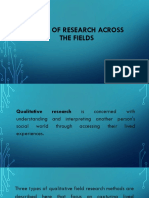 Kinds of Research Across the Fields