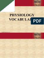 Physiology Vocabulary
