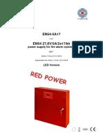 Manual de Utilizare Sursa de Alimentare 27.6 V5 a Pulsar EN54-5A17 230 VAC50 Hz Montaj Aparent LED