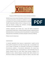 Programa del XXIII Coloquio Internacional de Estudiantes de Historia de la Pontificia Universidad Católica del Perú