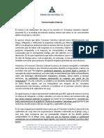 Comunicado Interno Reinicio de Actividades Operacionales y Laborales, Septiembre 2019