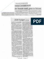 Philippine Star, Nov. 28, 2019, 2020 budget gets Senate nod goes to bicam.pdf