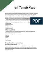 Sejarah Tanah Karo