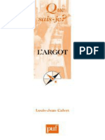 L'Argot - Louis-Jean Calvet
