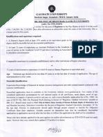 Advertisement for the Post of Registrar, Gauhati University