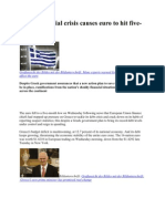 Greek financial crisis causes euro to hit five