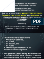 On the role of BS Architecture Students, the IAPOA, the social media and the public in correcting false impression of a Filipino Architect