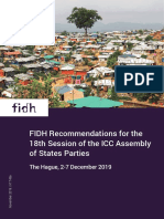 FIDH Recommendations for the 18th Session of the ICC Assembly of States Parties