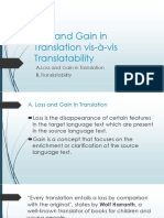 Loss and Gain in Translation Vis-à-Vis Translatability