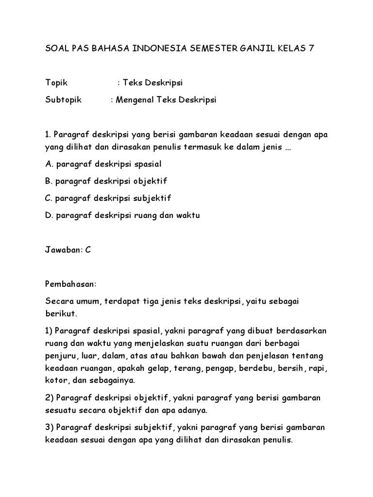 Soal Pas Bahasa Indonesia