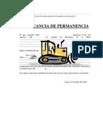 Modelo de Constancia de permanencia.
