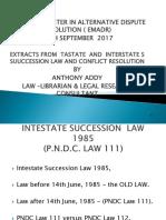 INTESTATE SUCCESSION LAW