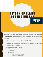 Return of Plaint