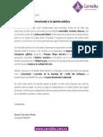 Comunicado de Daniel Carvalho a la opinión pública