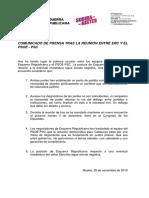 Comunicat d'ERC després de la reunió amb PSOE