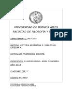 Historia Argentina II (1862-1916) a - (Belini - Denkberg)