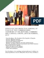 Speech by the Inspector General of Police j.m.okoth-ochola November 28 2019
