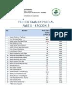 Notas Tercer Examen Parcial Fase 2 Sección B