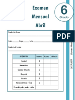 6to Grado - Examen Mensual Abril (2019-2020)