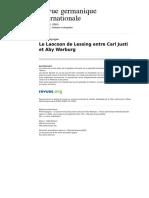 ESPAGNE Le Laocoon de Lessing Entre Carl Justi Et Aby Warburg