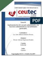 Implementación Del Concepto Administrativo, Las Funciones Administrativas y Las Habilidades Gerenciales