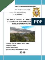 PARÁMETROS GEOMORFOLÓGICOS DE LA SUBCUENCA DEL RÍO LARAOS