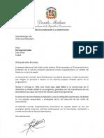 Carta de felicitación del presidente Danilo Medina con motivo del 50 aniversario de Color Visión, canal 9