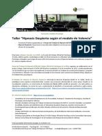Nota de Prensa Curso Modelo de Valencia de Hipnosis Despierta