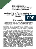 Tête de Pioche, texte de Jean-Pierre FLEURY sur Olivier MATHIEU dit Robert PIOCHE