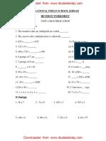 Maths worksheet class 3